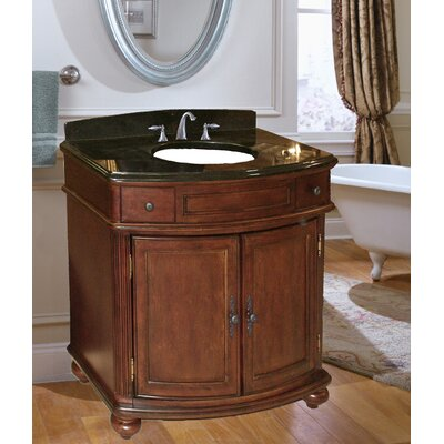 Arlington 37 Single Bathroom Vanity Set Base Finish: Distressed Cherry, Top Finish: Black Granite