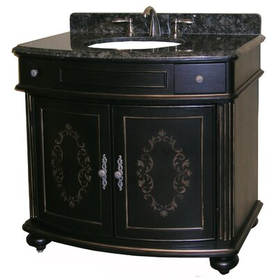 Arlington 37 Single Bathroom Vanity Set Base Finish: Ebony, Top Finish: Black Granite