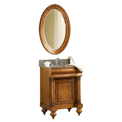 Guild Hall 24 Single Bathroom Vanity Set Base Finish: Distressed Pecan, Top Finish: Gold Hill Granite