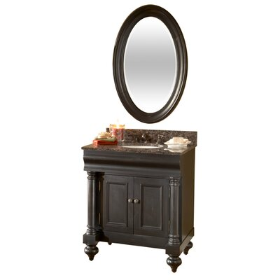 Guild Hall 30 Single Bathroom Vanity Set Base Finish: Distressed Black, Top Finish: Black Granite