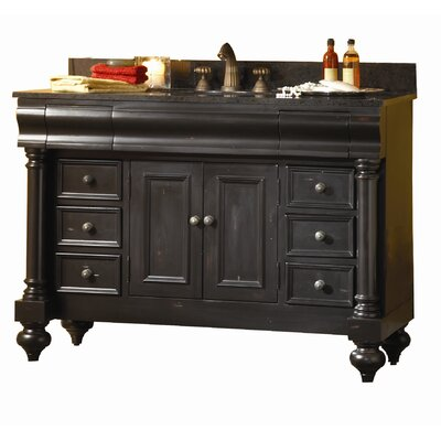 Guild Hall 48 Single Bathroom Vanity Set Base Finish: Distressed Black, Top Finish: Black Granite