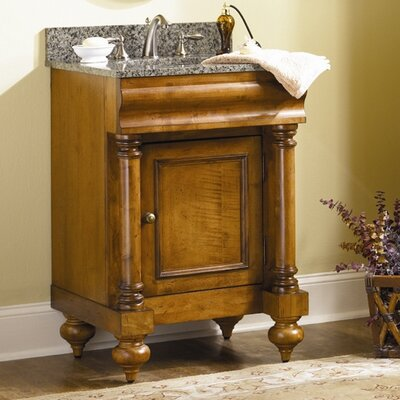 Guild Hall 24 Single Bathroom Vanity Set Base Finish: Distressed Pecan, Top Finish: Black Granite