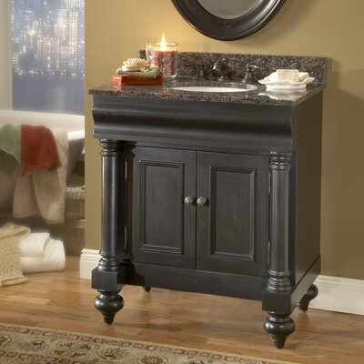 Guild Hall 30 Single Bathroom Vanity Set Base Finish: Distressed Black, Top Finish: Tan Brown Granite