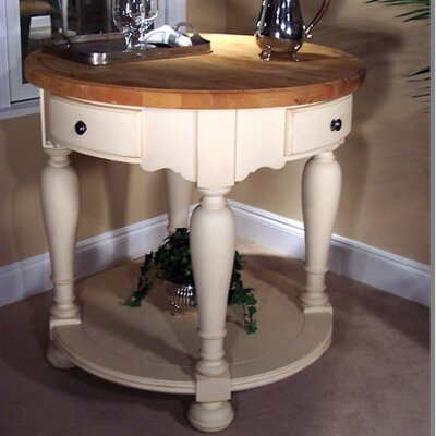 Signature Kitchen Island with Butcher Block Top Finish: Cream