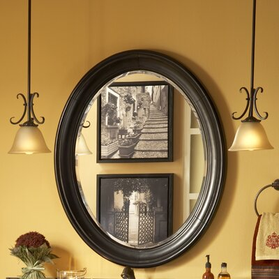 "Guild Hall 38"" H x 31"" W Large Vanity Mirror Finish: Distressed Black"