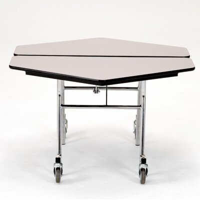 "48"" x 48"" Hexagonal Cafeteria Table Frame Finish: Chrome, Tabletop Color: Fusion Maple, Material: MDF MT48H-MDPECRFM"