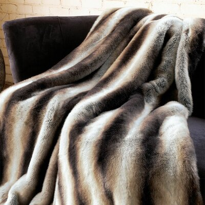 Chinchilla Faux Fur Throw Size: 60 W x 60 L