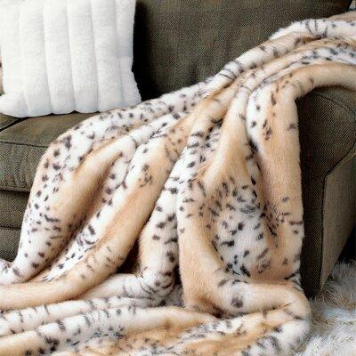 Snow Leopard Faux Fur Throw Size: 60 W x 86 L