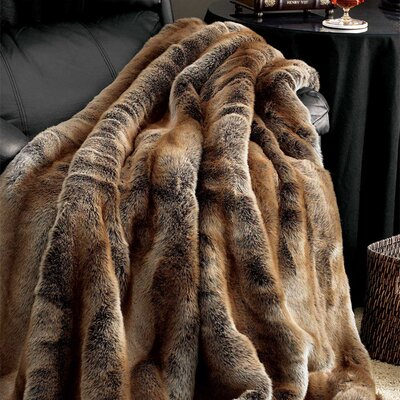 Coyote Faux Fur Throw Size: 60 W x 72 L