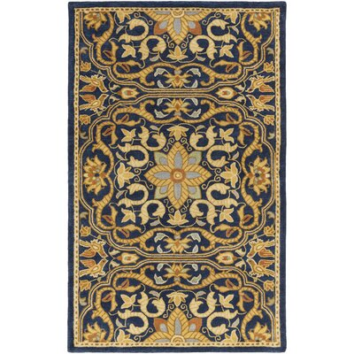 Smithsonian Hand-Tufted Blue/Black Area Rug Rug Size: 5 x 8