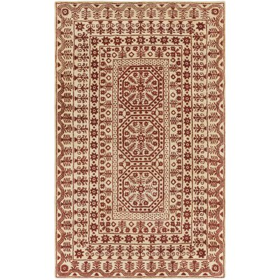 Smithsonian Hand-Tufted Red/Neutral Area Rug Rug Size: 5 x 8