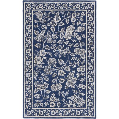 Smithsonian Hand-Tufted Blue/Black Area Rug Rug Size: 33 x 53
