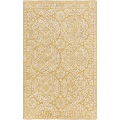 Smithsonian Hand-Tufted Yellow/Neutral Area Rug Rug Size: 33 x 53