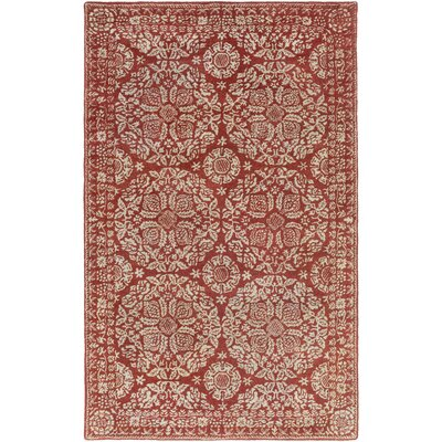 Smithsonian Hand-Tufted Red/Neutral Area Rug Rug Size: 33 x 53