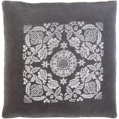 Cotton Pillow Cover Size: 22 H x 22 W x 0.25 D, Color: Charcoal / Light Gray