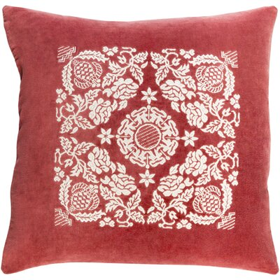 Cotton Pillow Cover Size: 18 H x 18 W x 0.25 D, Color: Garnet / Cream