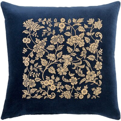 Cotton Pillow Cover Size: 20 H x 20 W x 0.25 D, Color: Navy / Butter