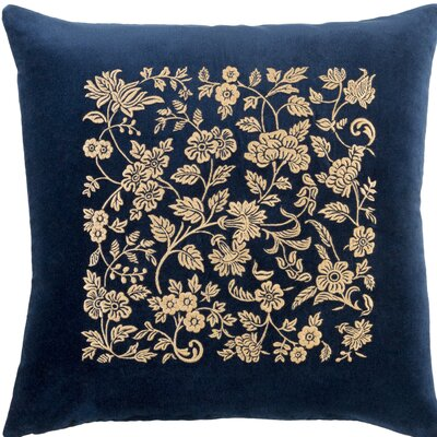 Cotton Throw Pillow Size: 18 H x 18 W x 4 D, Color: Navy / Butter