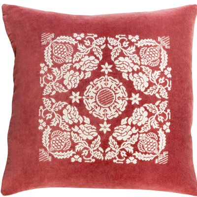 Cotton Throw Pillow Size: 18 H x 18 W x 4 D, Color: Garnet / Cream
