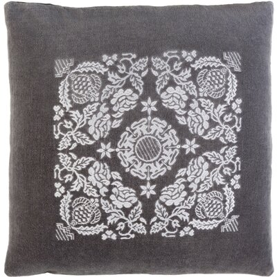 Cotton Throw Pillow Color: Charcoal / Light Gray, Size: 20 H x 20 W x 4 D