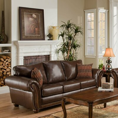 Simmons Zephyr Vintage Leather Chenille Sofa Accent