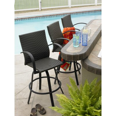 The Outdoor Greatroom Company Naples Swivel Barstool Set - Color: Dark Brown Leather at Sears.com