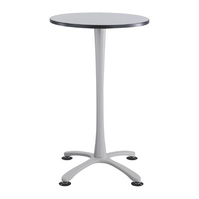 Cha-Cha 30 Round Table Base Finish: Silver, Top Finish: Gray