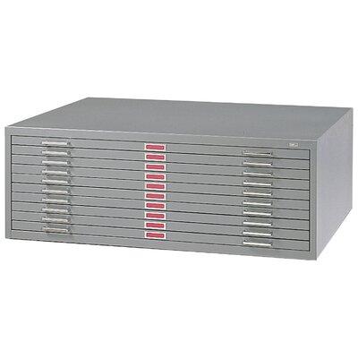 Ten-Drawer Flat File Filing Cabinet Finish: Gray