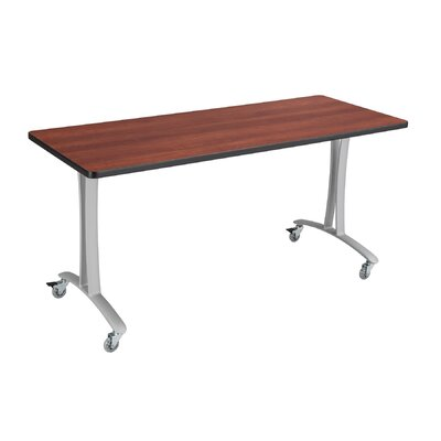 Rumba Training Table with Wheels Base Finish: Metallic Gray, Tabletop Finish: Cherry, Size: 5 L