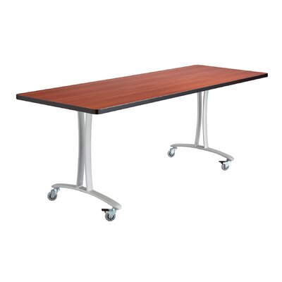 Rumba Training Table with Wheels Base Finish: Metallic Gray, Tabletop Finish: Cherry, Size: 6 L