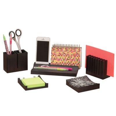 5 Piece Wood Desk Organizer Set 3282BL