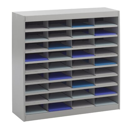 Literature Organizer with 36 Letter-Size Compartments Finish: Gray