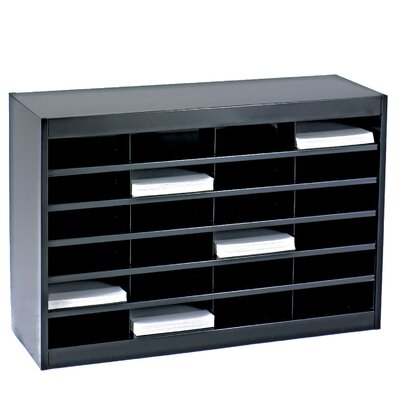 Literature Organizer with 24 Letter-Size Compartments Finish: Black