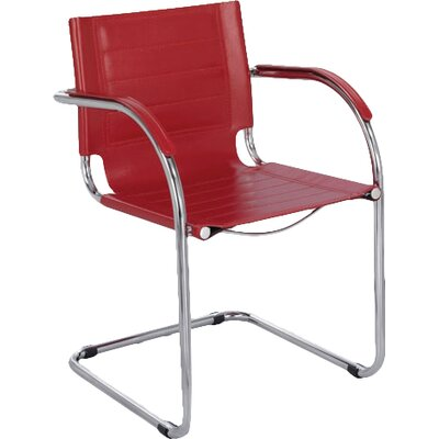 Flaunt Leather Guest Chair Seat Color: Red Leather