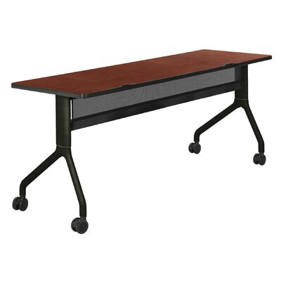 Rumba Training Table with Wheels Size: 60 x 24, Tabletop Finish: Cherry, Base Finish: Black