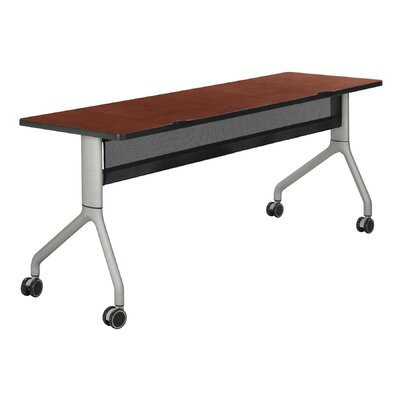 Rumba Training Table with Wheels Size: 48 x 24, Tabletop Finish: Cherry, Base Finish: Metallic Gray