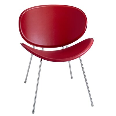Sy Leather Guest Chair Color: Red