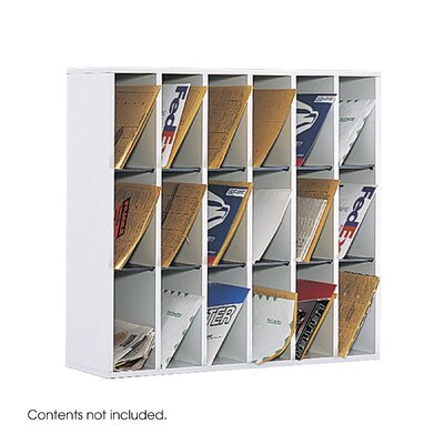 Mail Sorter with Adjustable Dividers 18 Compartments Color: White