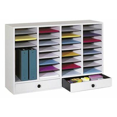 Large Adjustable-Compartment Literature Organizer with Drawers Finish: Gray