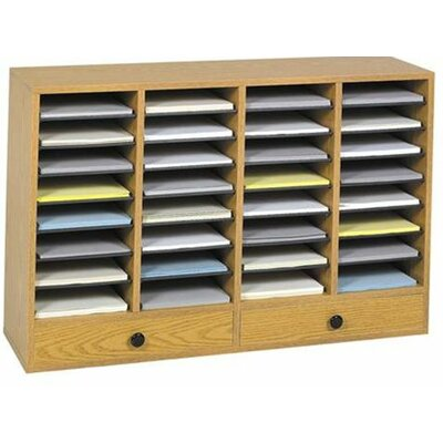 Large Adjustable-Compartment Literature Organizer with Drawers Finish: Oak