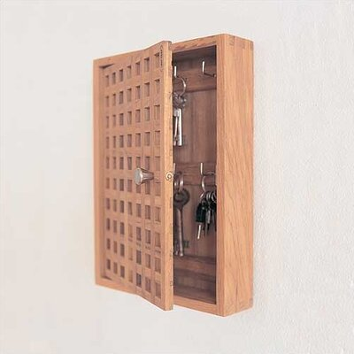 Modern Teak Key Box Cabinet with Lattice Grid Front Door