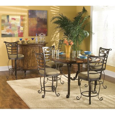 riverside furniture stone forge 5 piece gathering table set in tuscan