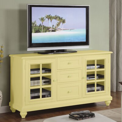 Cheap Riverside Furniture Splash of Color 60″ TV Stand in Distressed Buttercup Yellow (RVF4486)