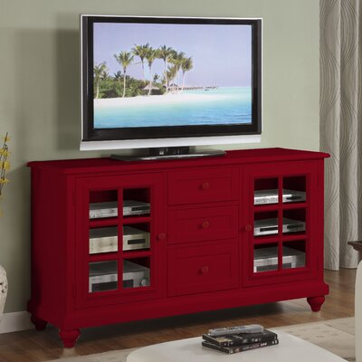 Cheap Riverside Furniture Splash of Color 60″ TV Stand in Distressed Chili Pepper Red (RVF4487)