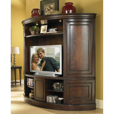 Buy Low Price Riverside Furniture Affinity Curved Sliding Double Door Entertainment Center in Cocoa (RVF1218)