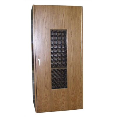440 Oak Wine Cooler Cabinet With Glass Window Wood Finish: Rich Brown