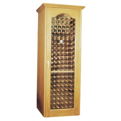 250 Oak Wine Cooler Cabinet With Furniture Trim And Glass Door Wood Finish: Rich Brown