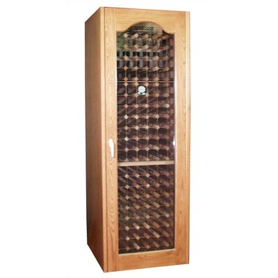 250 Provincial Oak Wine Cooler Cabinet With Double-paneled  Glass Door Wood Finish: Fruitwood
