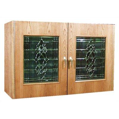 2 Door Oak Wine Cooler Credenza With Decorative Glass Doors Wood Finish: Black Walnut