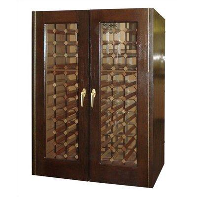 2 Door Oak Wine Cooler With Rectangular Glass Doors Wood Finish: Dark Walnut